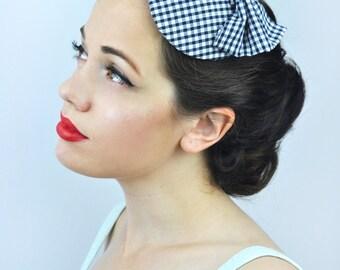 Gingham Bow Fascinator in Light Blue, Red or Navy Blue | 1950s Retro Fascinator | Vintage Hat| Races Hat | Wedding Fascinator