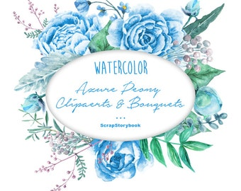Watercolor Azure Peony Cliparts & Bouquets - digital printable watercolor clipart