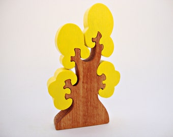 Waldorf Tree Toy Wooden Tree Autumn Wooden Toys Tree Figurine Puzzle Handmade  Birthday gift