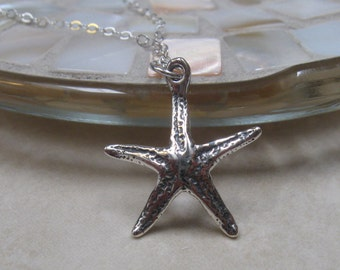 Silver starfish necklace - sterling - beachy necklace