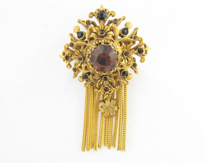 Antique Signed Florenza Brooch // Florenza of New York Brooch // Signed Costume Jewelry