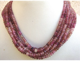 Wholesale Pink Tourmaline Lot - 5 Strands Shaded Pink Tourmaline Faceted Rondelles - 5mm To 3mm - 16 Inches Each