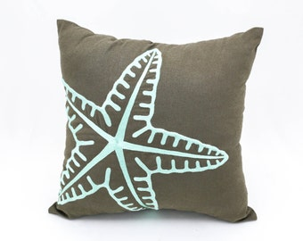Throw pillow cover, Starfish pillow, Nautical pillow, Turquoise Pillow, Embroidery Pillow, Coastal Pillow, Beach House Pillow, Cushion Cover