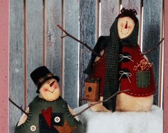 "Snow Folks Soft Stuffed Snowman & Snow Woman 9"" Dolls Decorations Pattern, Instructions Homebodies 1997 Christine Rieke Winter Holiday Decor"