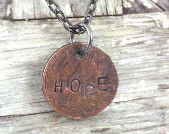HOPE Penny Charm Necklace, Good Luck Penny, Cancer Necklace, Coin Charm Necklace, Inspirational Necklace, Gift Idea for Survivor,Sick Friend