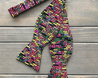 Rainbow Bow Tie - Self Tie Bow Tie - Mulit-Colored Bow Tie - Mens Suit Accessories