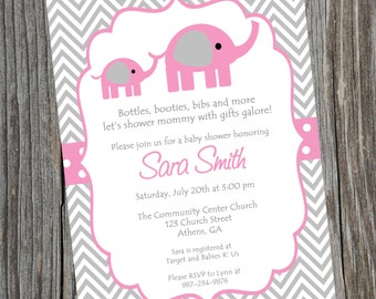 Elephant Invitation Pink Elephant Invitation Elephant Baby Shower Invitation Pink Elephant Shower Printable Invitation Digital Invitation