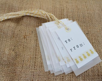 Pineapple Gift Tags - To From Tags - To From Gift Tags - Favor Tags - Hang Tags - Gift Bag Tags - Gift Wrap Tags - Gift Wrap Decor