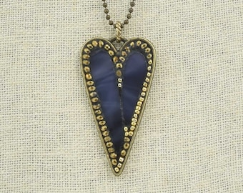 Purple Stained Glass and Gold Seed Bead Heart Pendant Necklace