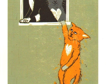 "Signed A4 Banksy Style Giclee Print With Animals ""Cat Lovers"", for those who love Banksy and love cats! By Laura Robertson"