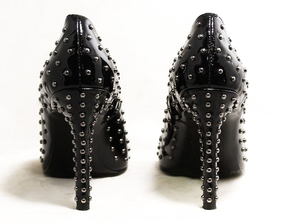 6 Sexy 50244 Fetish Heels Metal Shoes Studded Black High 1990s Silver with Open Studs Inch Toes Dominatrix Size Shoes 4 Spike Glossy dw7qdt1