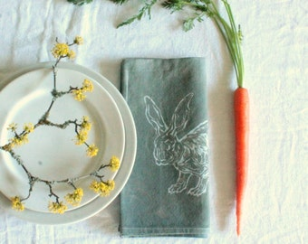 pair of gray easter rabbit napkins