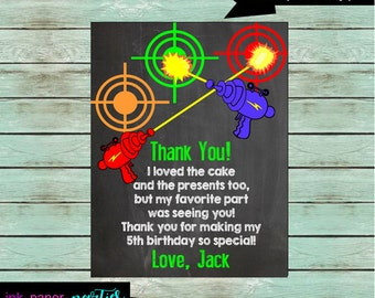 Laser Tag Birthday Party Thank You Note Cards ~ We Print and Mail to You