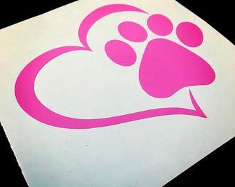 Love Paw Print decal