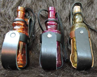 Instock Leather Bottle Holders, Bottle included, LARP, Cos Play, Steampunk, Plain