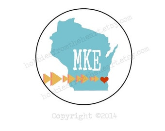 Milwaukee Love - MKE Envelope seals- Stickers - 16 white round labels/seals 1.2""