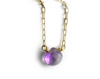 Amethyst Necklace, February Birthstone Necklace, Gemstone Layering Necklace