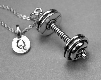 Barbell necklace, dumbbell necklace, weightlifter necklace, barbell charm, personalized necklace, initial necklace, initial charm, monogram
