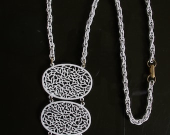 3 Tier Filigree Pendant Mod Necklace Valley of the Dolls Abstract Modernist