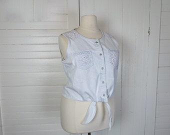 90s Denim Crop Top in Plus Size- 1990s Vintage Bleached Blue- Heart & Rose Print- Club Kid Summer Funky Fresh Grunge Summer Cotton Shirt