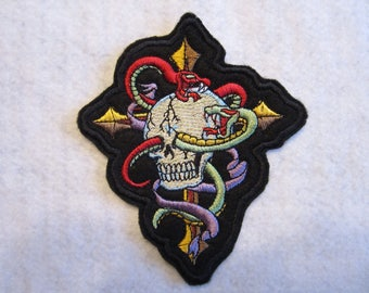 Embroidered Skull With Snakes And Cross Iron On Patch, Skull Patch, Snake Patch, Goth Patch, Iron On Patch, Skeleton Patch
