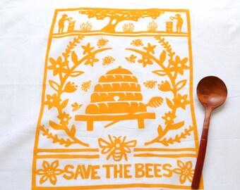 Flour Sack Dish Towel - Bees:  Yellow