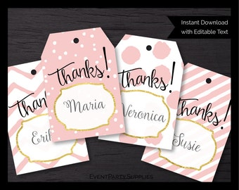 Pink and Gold Baby Shower Favor Tags // Pink Baby Shower Gift Tags // Girl Baby Shower Labels // Editable // Instant Download