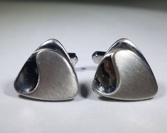 Vintage-Swank-Silver-Triangle-Cuff Links-Jewelry-Men's Accessories