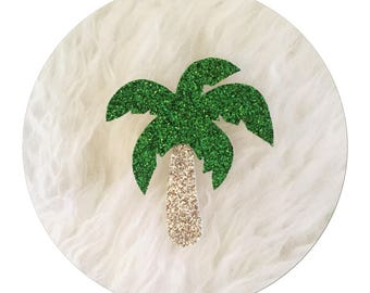 """✨✨Mettez glitter in your life with canvas glitter micropaillete """"Palm"""" brooch"""
