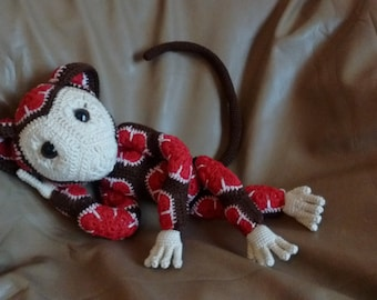 MOKILALA - The crocheted / crochet African Flower Motifs, Beautiful Monkey.
