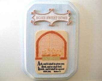 Verse Plaque Matthew 7:7. ASK and it will be given to you, SEEK and you will find, KNOCK and the door will be opened to you. Christian Decor