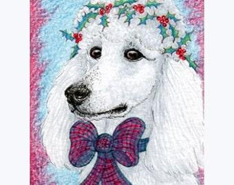 White Poodle 8x10 art print Dreaming of a White Christmas