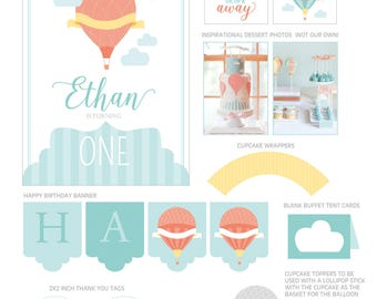 DIGITAL FILES Hot Air Balloon Party Decorations, Hot Air Balloon Birthday Party Decor, Hot Air Balloon, Up and Away Birthday, Party Kit