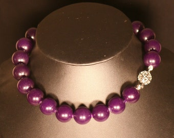 Jade purple and Silver 925 necklace