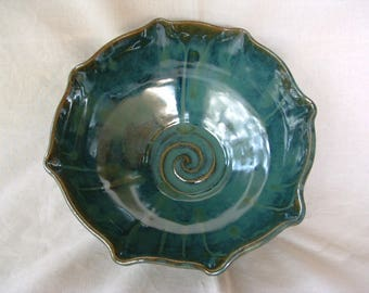 Handmade stoneware bowl in green and blue