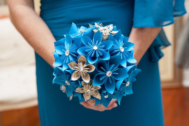 Something Blue Paper Flower Wedding Bouquet Bridal