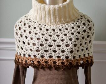 Crochet women's cowl neck poncho crochet poncho crochet cowl neck sweater, cowl neck cape, womens crochet cape, crochet caplet, shawl