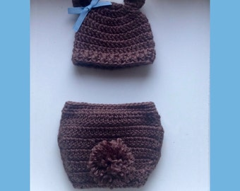 Teddy bear hat and diaper cover!