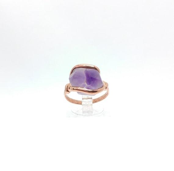 Raw Amethyst Ring | Copper Ring Sz 7.25 | Raw Stone Ring | Raw Crystal Ring | Druzy Amethyst Crystal Ring | February Birthstone Ring