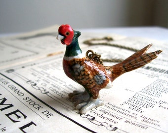 Pheasant ceramic charm necklace - beautiful country bird on brass - wildlife lover