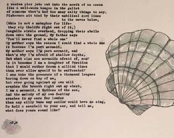 Mermaid Poem & Shell Print