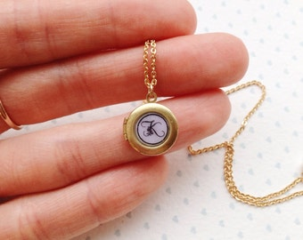 Tiny Round Locket Necklace / Tiny Locket / Childrens Locket / Tiny Initial Necklace