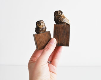 Ceramic Owl Figurines // Pair of Owls // Home Decor