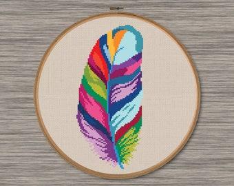 Striped Feather - PDF Cross Stitch Pattern