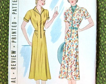 Spring Sale UNcut 1930s Pictorial Review 9259  Printed 30s Dress Pattern  Dart Tucked  Easy To Make Bust 36 inches