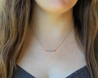 Delicate Turquoise Necklace / 14k Gold filled bead necklace / Rare Sleeping beauty Turquoise necklace / Layering Necklace
