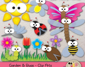 CLIP ART Cute Bugs with Garden Butterfly Bee Ladybug Dragonfly Caterpillar Flower