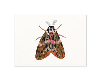 Colorful Watercolor Moth Art Print. Watercolor Moth Painting. Unique Nature Art. Gallery Wall Nature Art Print. Minimalist Woodland Art.