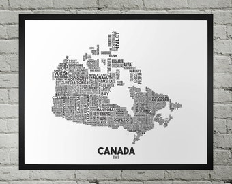 Canada City Typography Map Print
