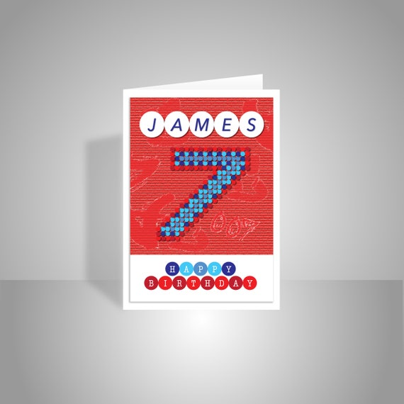 Personalised happy 7th birthday card for boy edit name red like this item bookmarktalkfo Choice Image